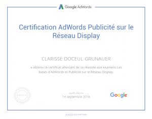 Certification Adwords sur les réseaux display pour STUDI PRO Marketing
