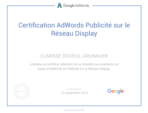 Nouvelle certifications Google Adwords sur les réseaux Display