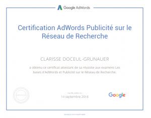 Certification Adwords sur les réseaux de recherche pour STUDI PRO Marketing
