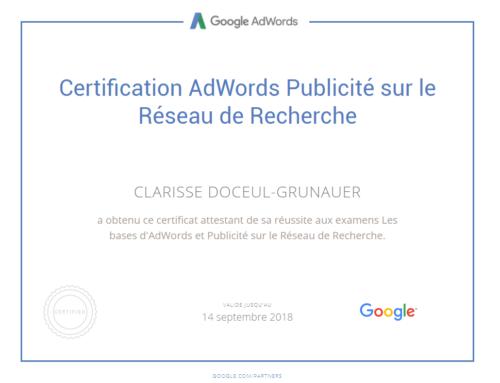 Renouvellement de la certification Google Adwords sur les réseaux de recherche