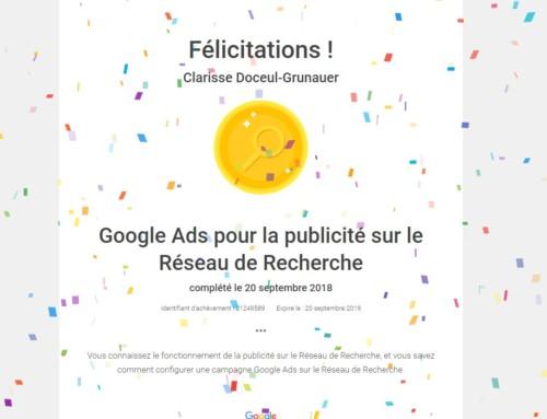 Certification Google Ads pour la 3ème année consécutive