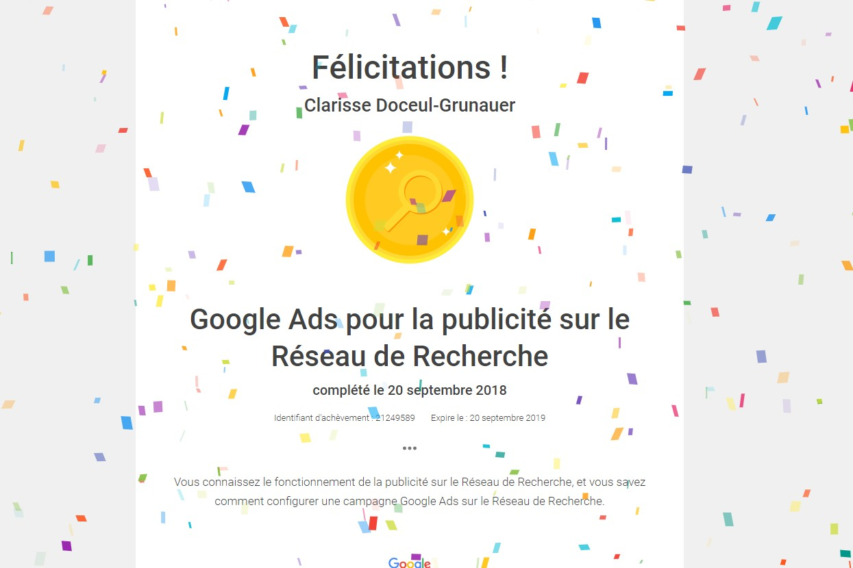 Certification Google Ads réseaux recherche Adwords 2018 STUDI PRO Marketing